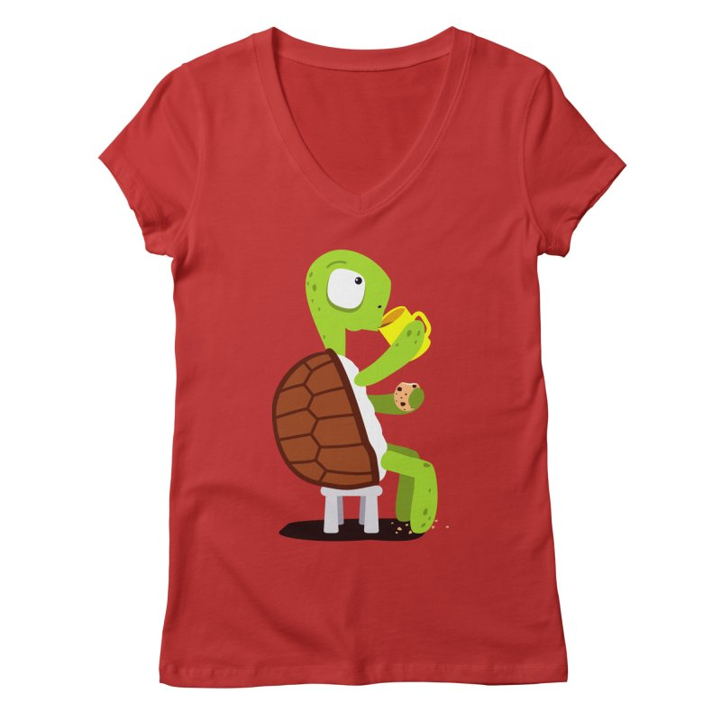Turtle drinking tea with cookies. Women's V-Neck by shiningstar's Artist Shop