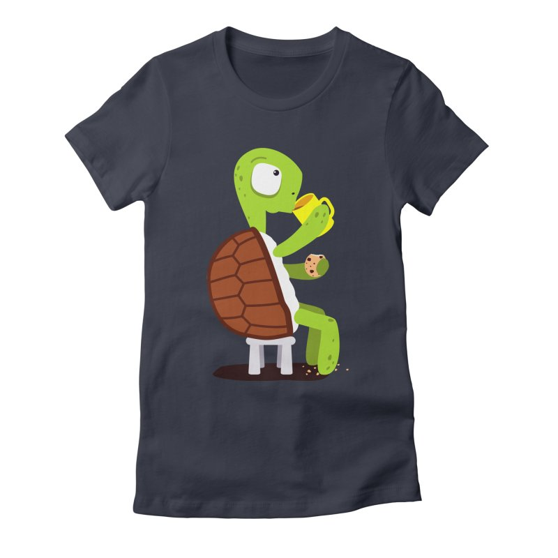 Turtle drinking tea with cookies. Women's Fitted T-Shirt by shiningstar's Artist Shop