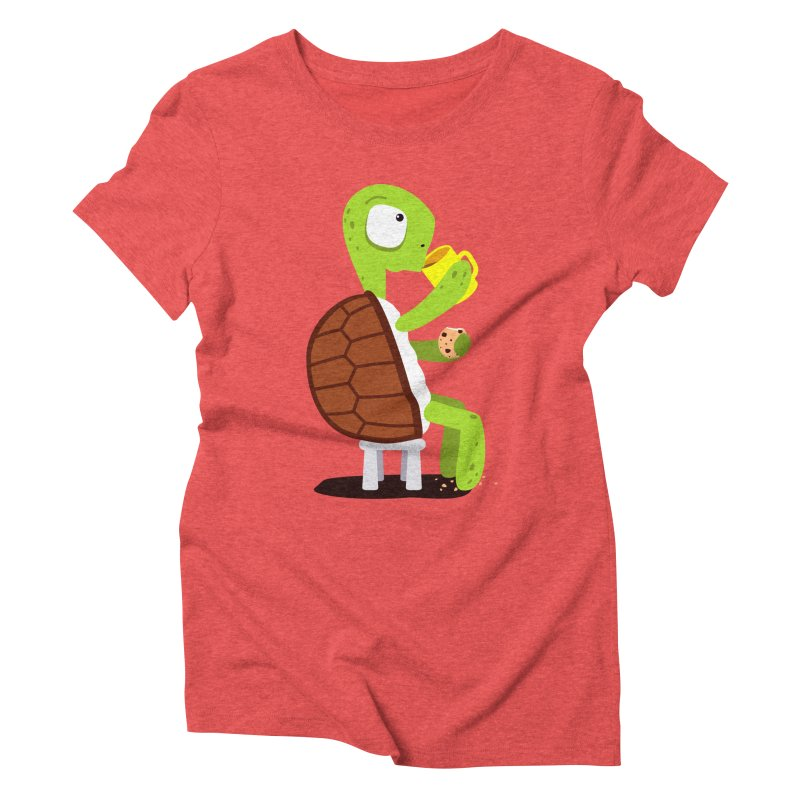 Turtle drinking tea with cookies. Women's Triblend T-shirt by shiningstar's Artist Shop