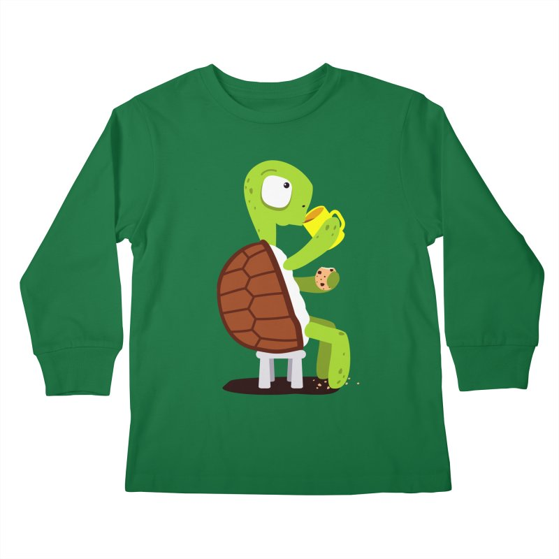 Turtle drinking tea with cookies. Kids Longsleeve T-Shirt by shiningstar's Artist Shop
