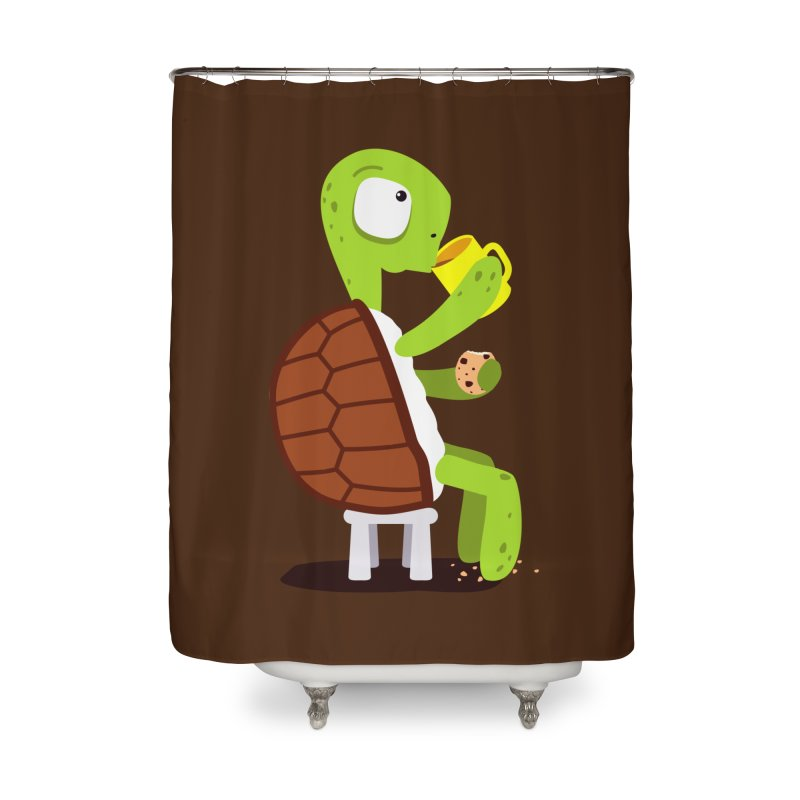 Turtle drinking tea with cookies. Home Shower Curtain by shiningstar's Artist Shop