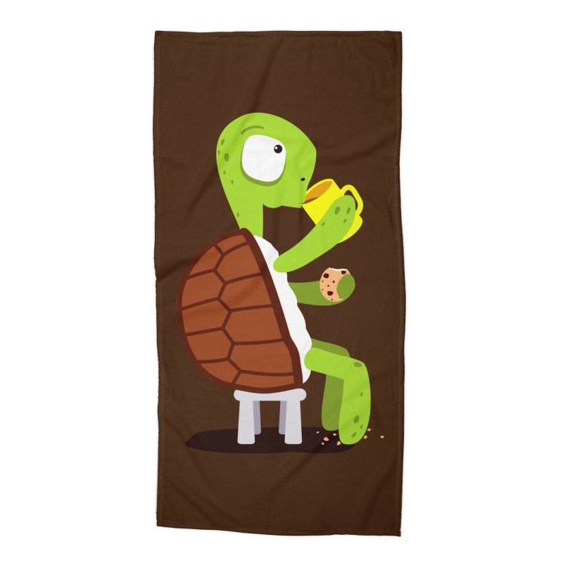 Turtle drinking tea with cookies. Accessories Beach Towel by shiningstar's Artist Shop