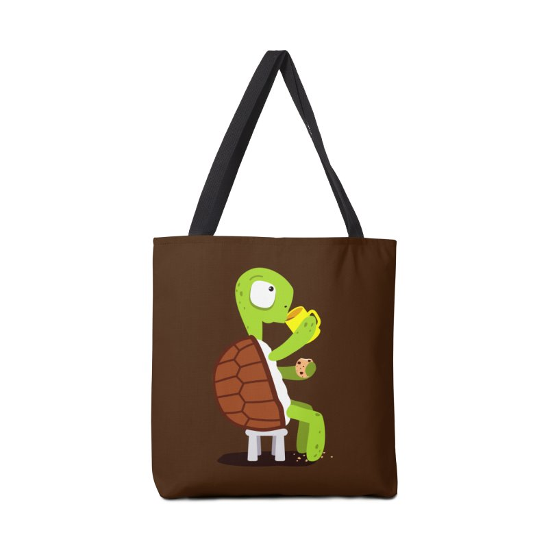 Turtle drinking tea with cookies. Accessories Bag by shiningstar's Artist Shop