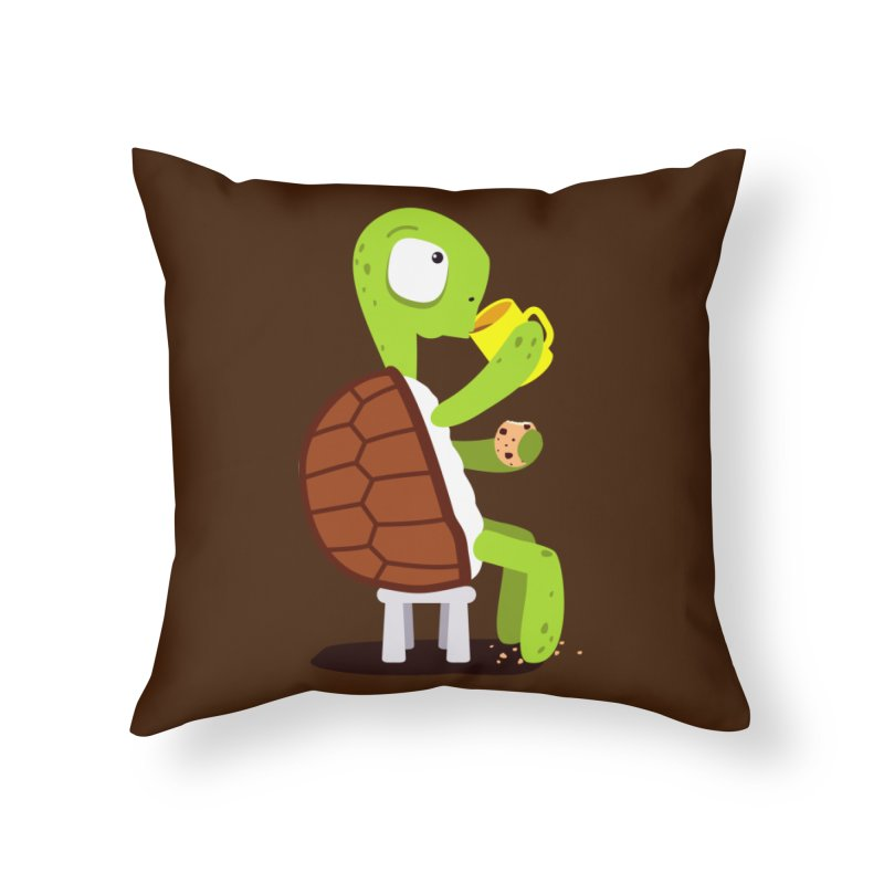 Turtle drinking tea with cookies. Home Throw Pillow by shiningstar's Artist Shop