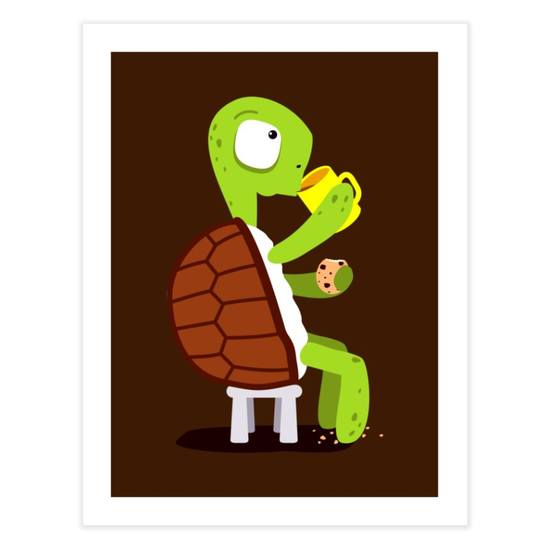 Turtle drinking tea with cookies. Home Fine Art Print by shiningstar's Artist Shop