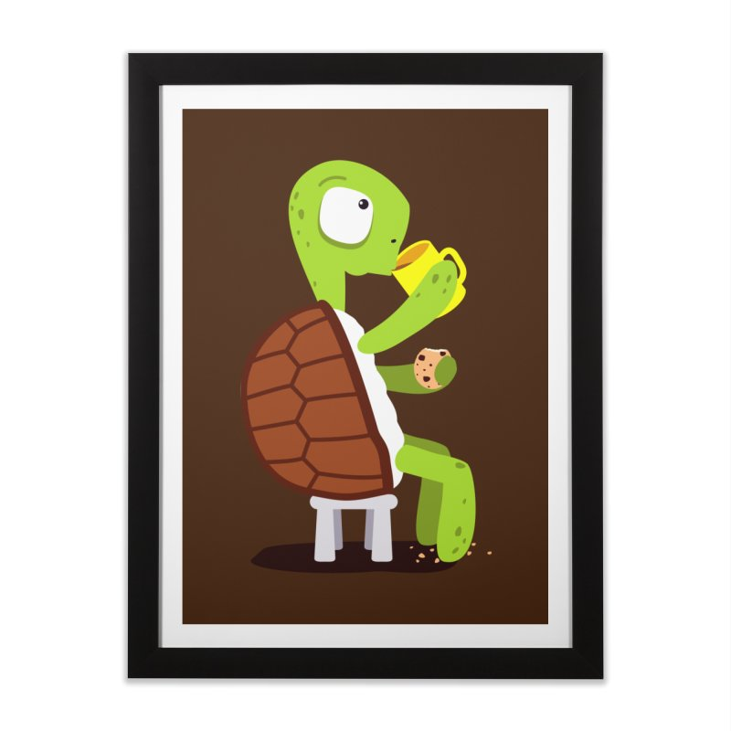 Turtle drinking tea with cookies. Home Framed Fine Art Print by shiningstar's Artist Shop