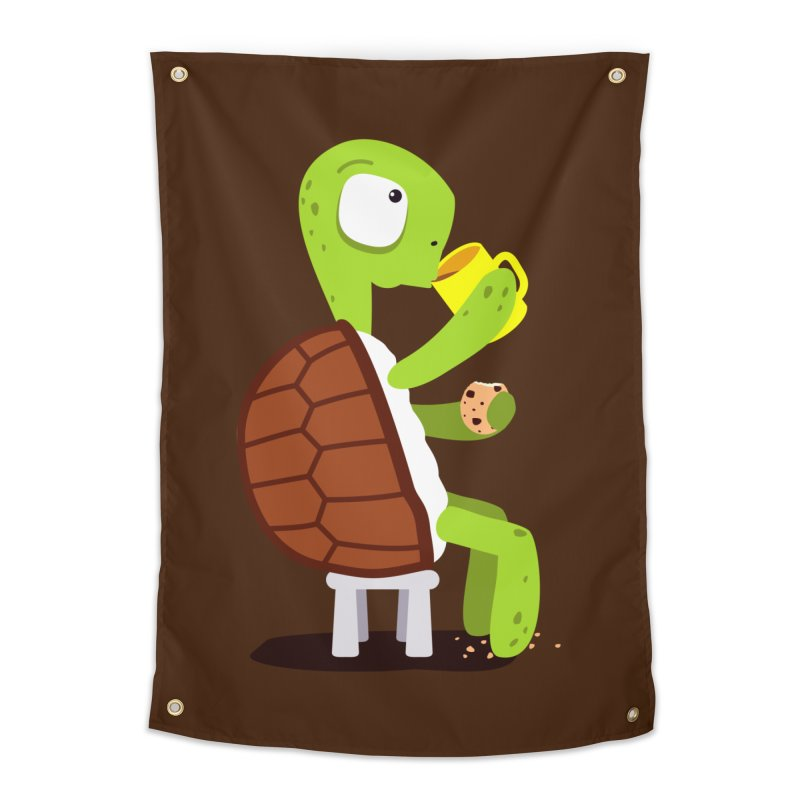 Turtle drinking tea with cookies. Home Tapestry by shiningstar's Artist Shop