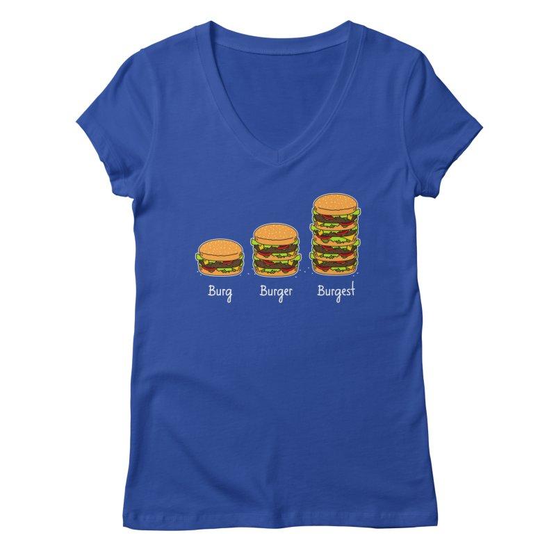 Burger explained. Burg. Burger. Burgest. Women's V-Neck by shiningstar's Artist Shop
