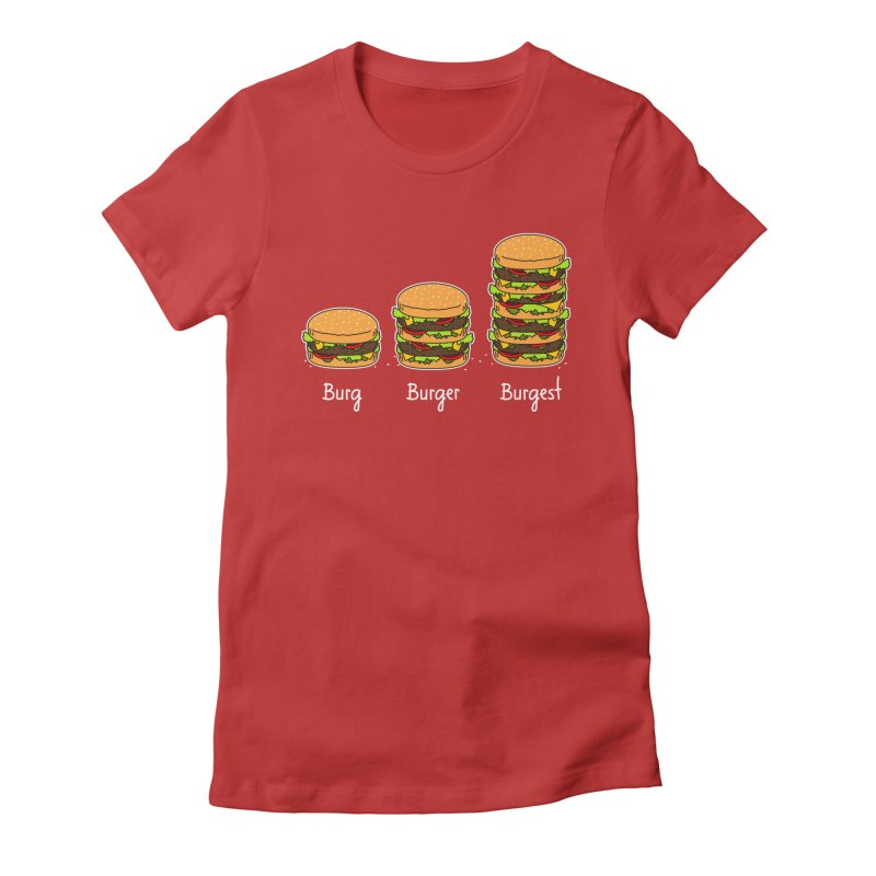 Burger explained. Burg. Burger. Burgest. Women's Fitted T-Shirt by shiningstar's Artist Shop