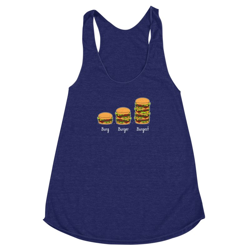 Burger explained. Burg. Burger. Burgest. Women's Racerback Triblend Tank by shiningstar's Artist Shop
