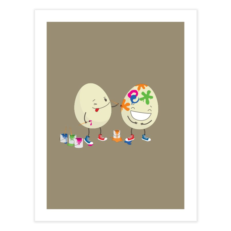 Happy Easter eggs decorating each other Home Fine Art Print by shiningstar's Artist Shop