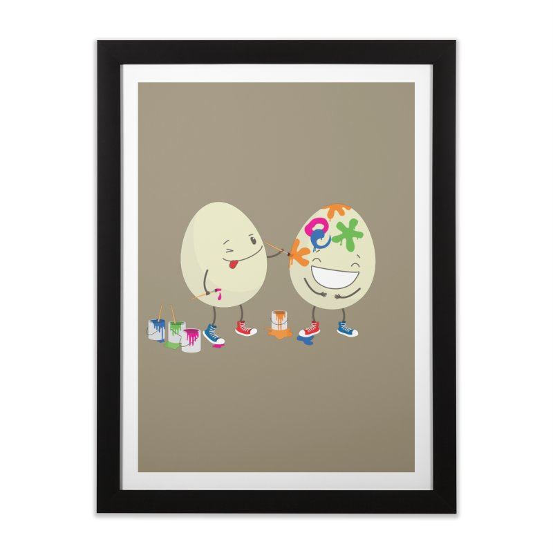 Happy Easter eggs decorating each other Home Framed Fine Art Print by shiningstar's Artist Shop