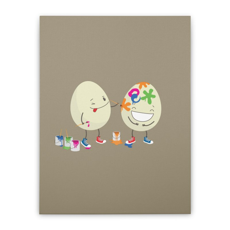 Happy Easter eggs decorating each other Home Stretched Canvas by shiningstar's Artist Shop