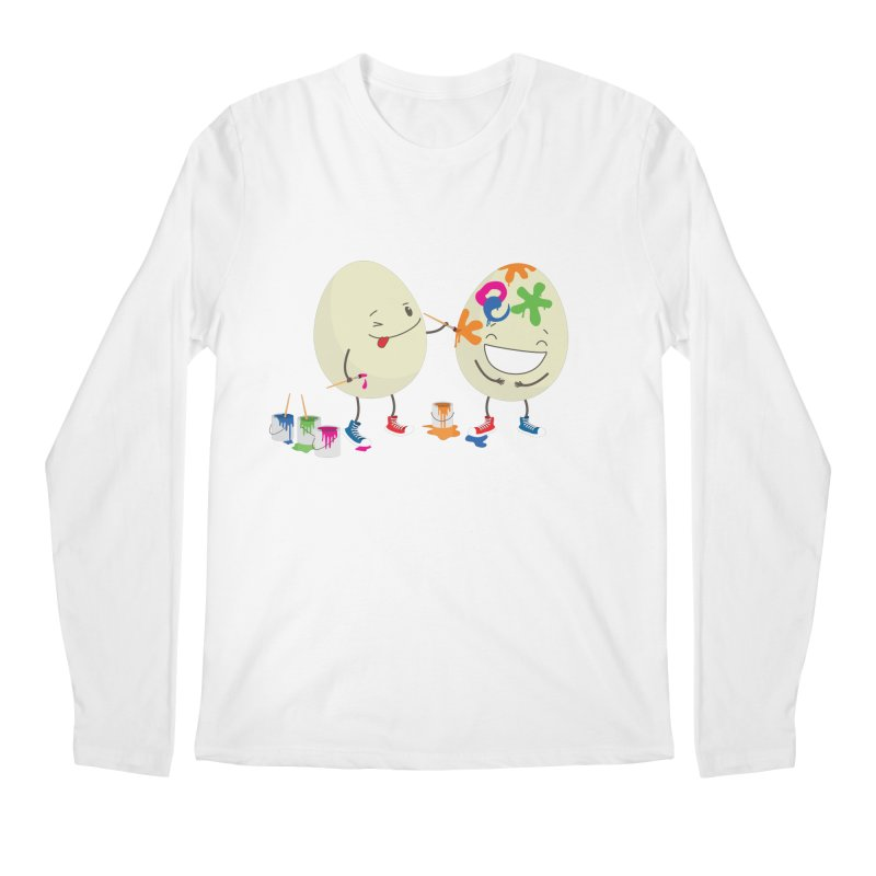 Happy Easter eggs decorating each other Men's Longsleeve T-Shirt by shiningstar's Artist Shop