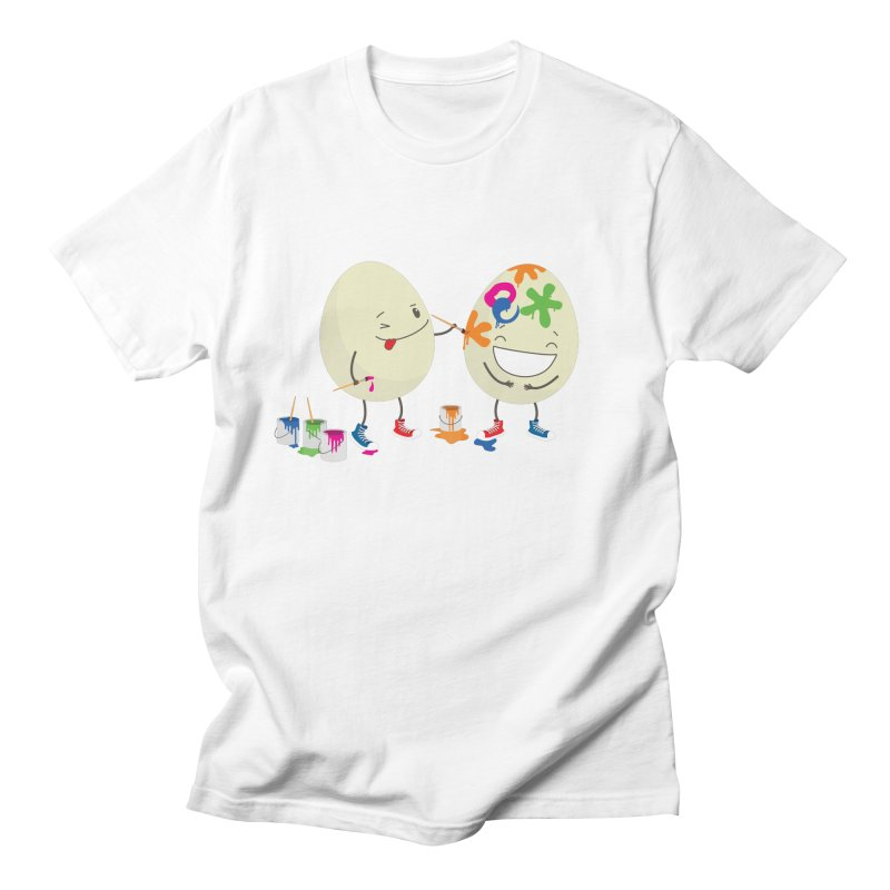 Happy Easter eggs decorating each other Women's Unisex T-Shirt by shiningstar's Artist Shop