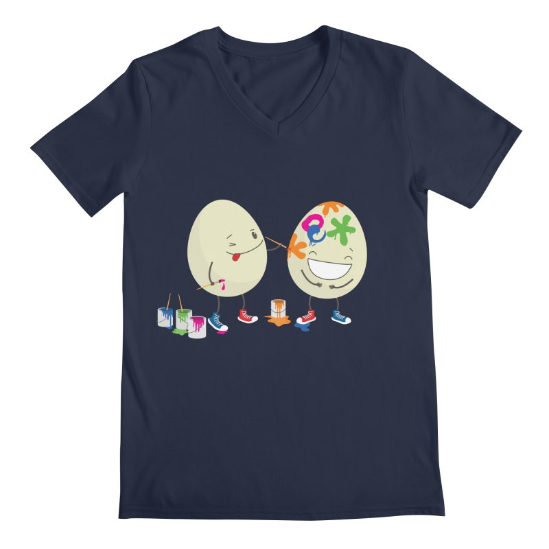 Happy Easter eggs decorating each other Men's V-Neck by shiningstar's Artist Shop