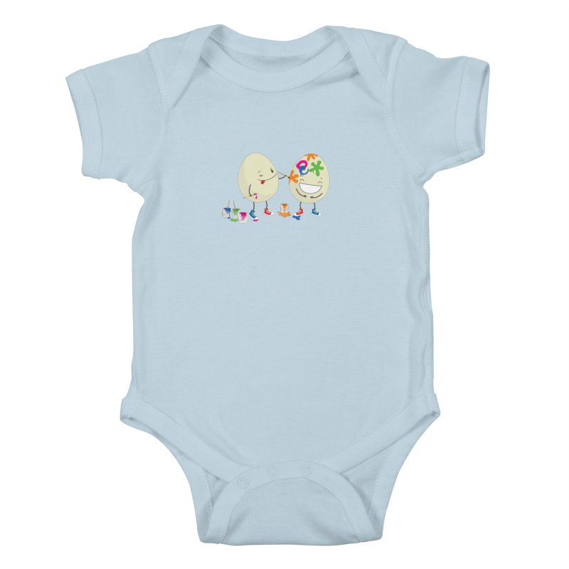 Happy Easter eggs decorating each other Kids Baby Bodysuit by shiningstar's Artist Shop