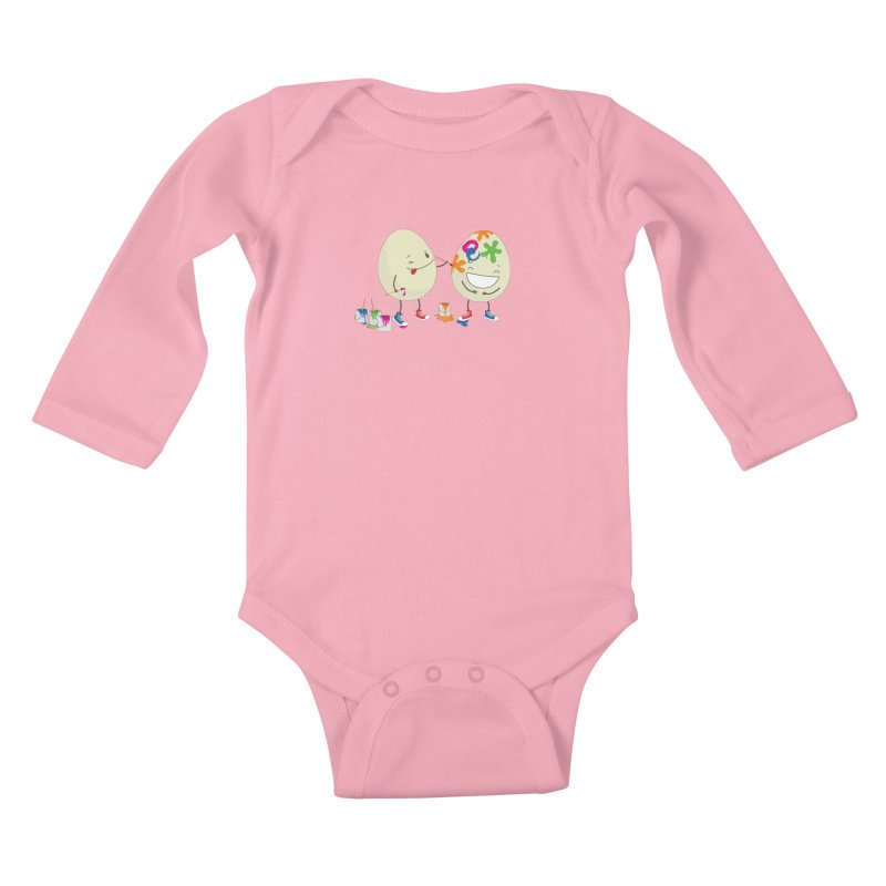 Happy Easter eggs decorating each other Kids Baby Longsleeve Bodysuit by shiningstar's Artist Shop