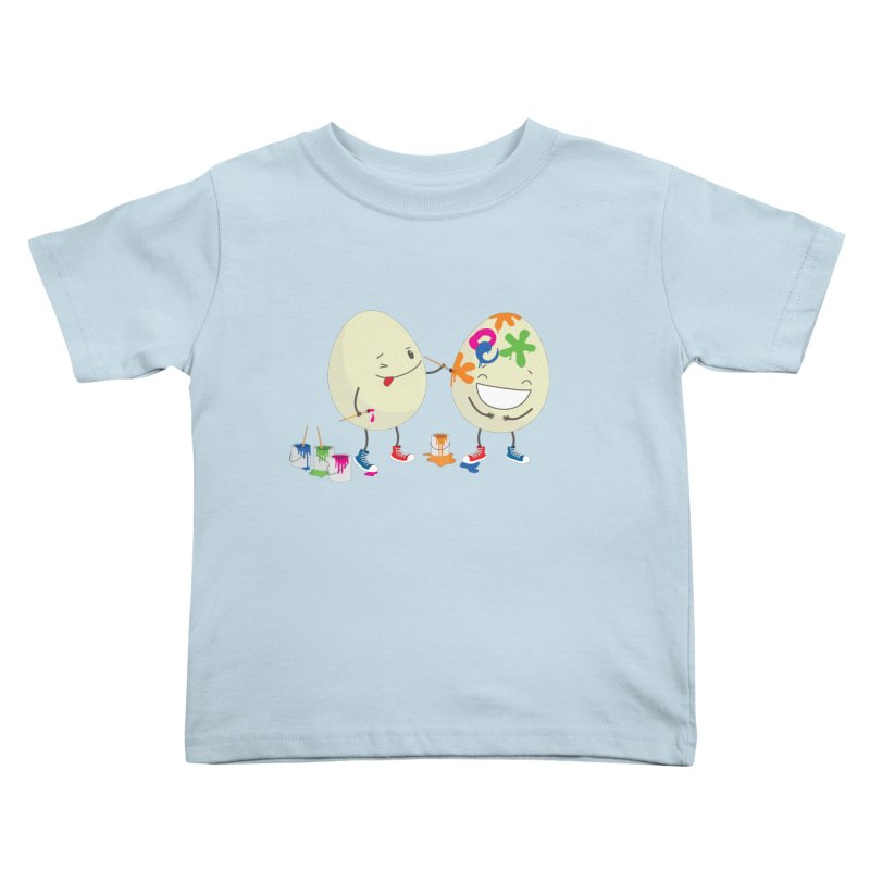 Happy Easter eggs decorating each other Kids Toddler T-Shirt by shiningstar's Artist Shop