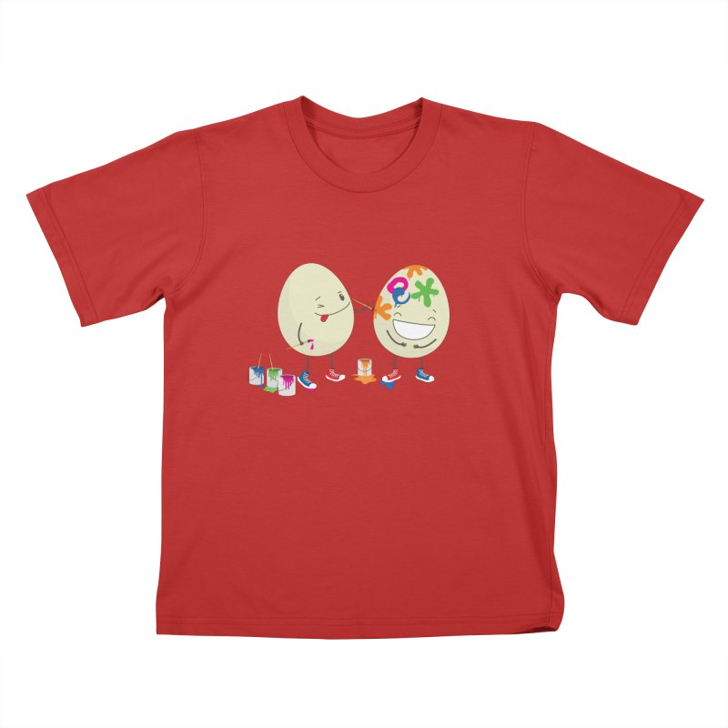 Happy Easter eggs decorating each other Kids T-shirt by shiningstar's Artist Shop