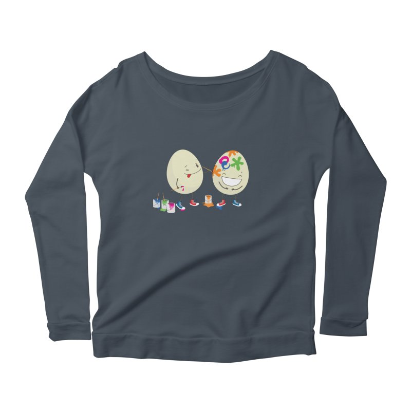 Happy Easter eggs decorating each other Women's Longsleeve Scoopneck  by shiningstar's Artist Shop