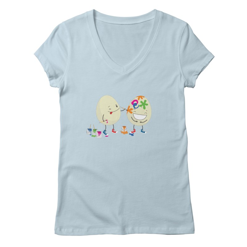Happy Easter eggs decorating each other Women's V-Neck by shiningstar's Artist Shop