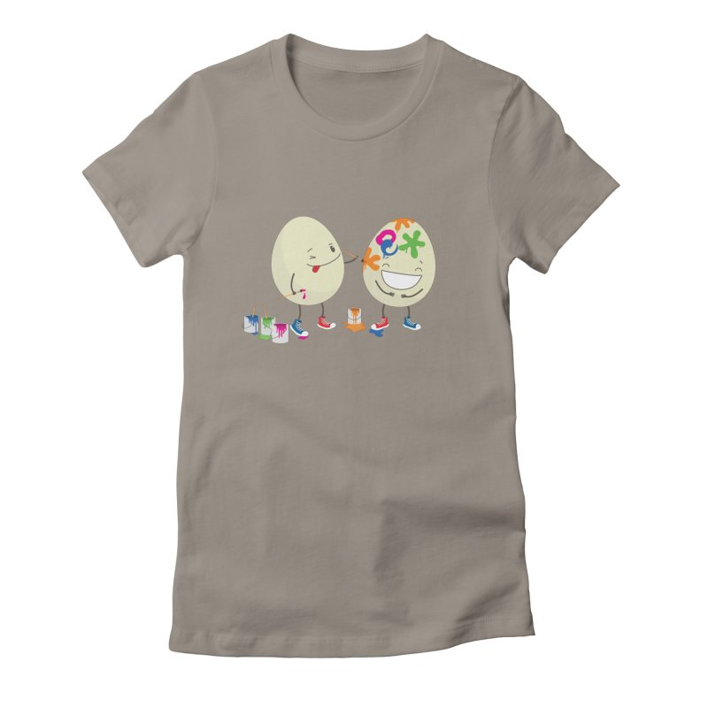Happy Easter eggs decorating each other Women's Fitted T-Shirt by shiningstar's Artist Shop