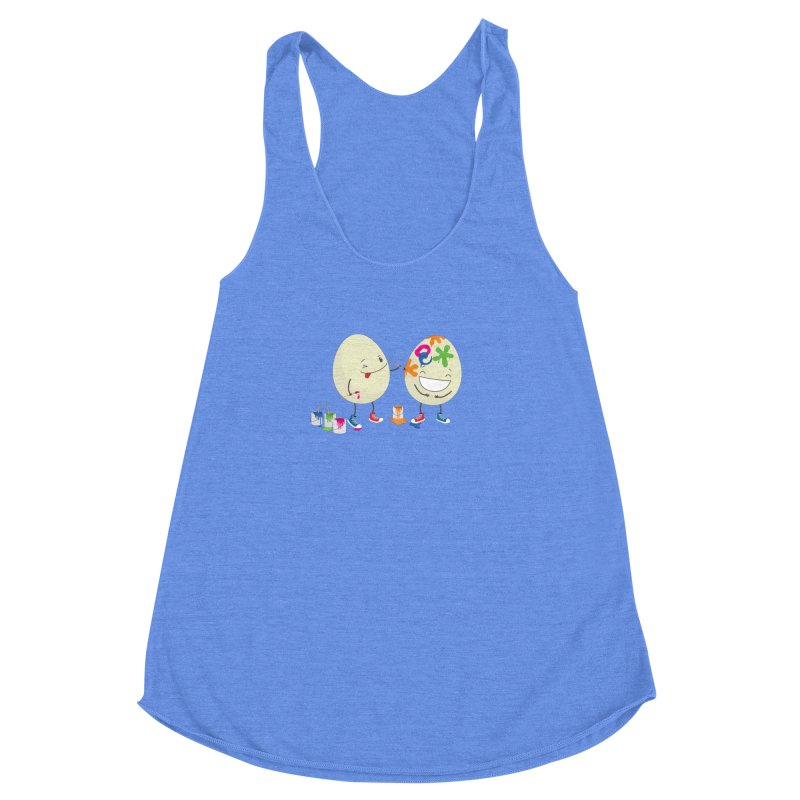 Happy Easter eggs decorating each other Women's Racerback Triblend Tank by shiningstar's Artist Shop