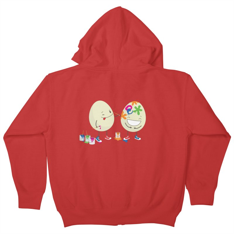 Happy Easter eggs decorating each other Kids Zip-Up Hoody by shiningstar's Artist Shop