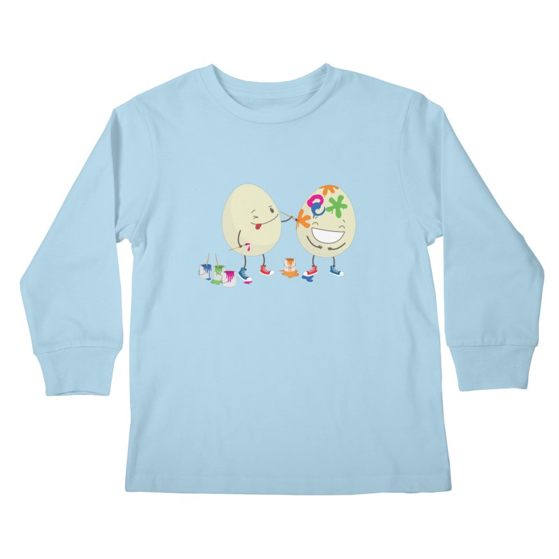 Happy Easter eggs decorating each other Kids Longsleeve T-Shirt by shiningstar's Artist Shop