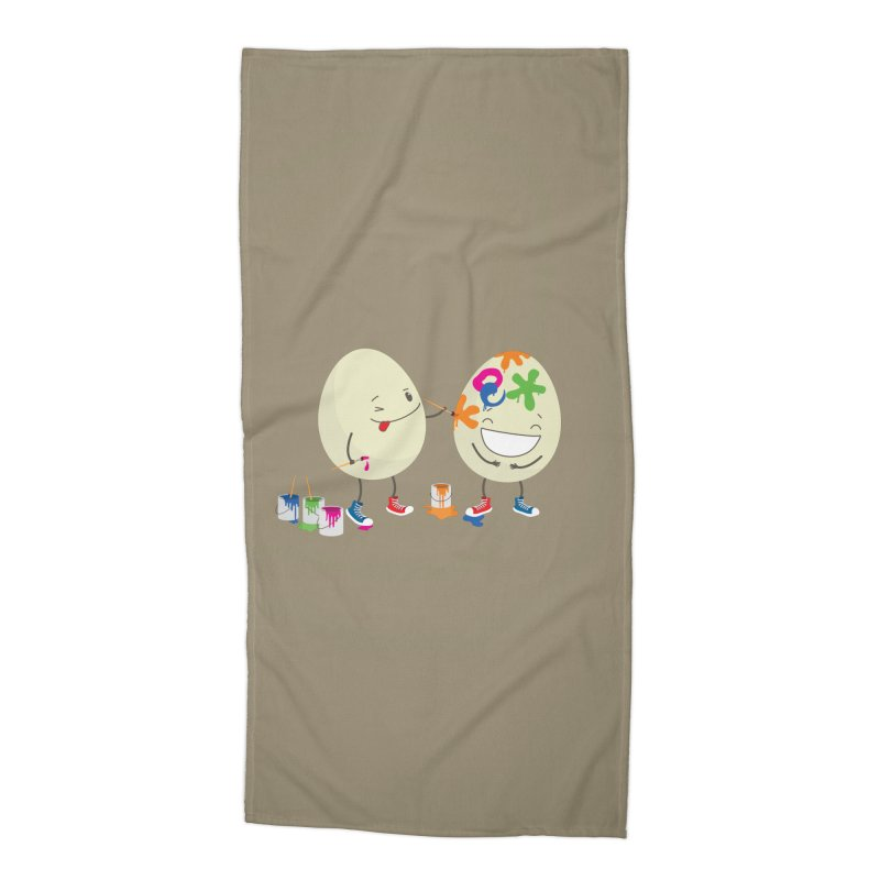 Happy Easter eggs decorating each other Accessories Beach Towel by shiningstar's Artist Shop