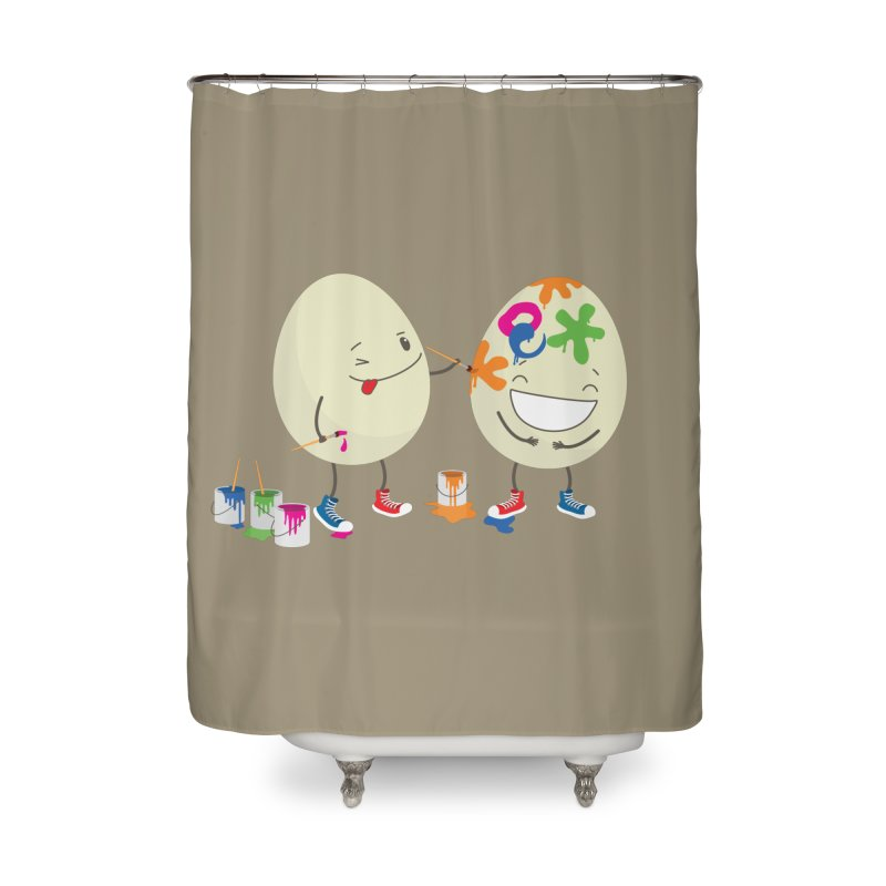 Happy Easter eggs decorating each other Home Shower Curtain by shiningstar's Artist Shop