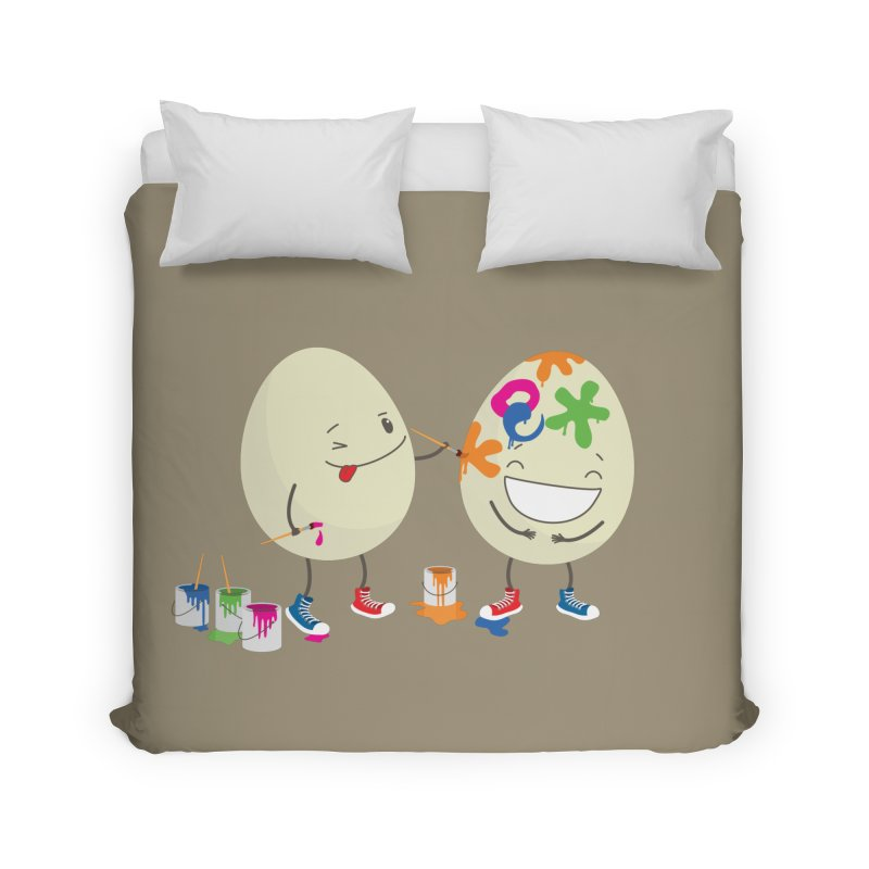 Happy Easter eggs decorating each other Home Duvet by shiningstar's Artist Shop