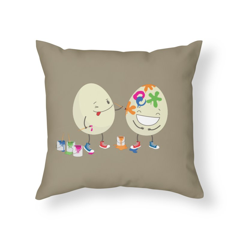 Happy Easter eggs decorating each other Home Throw Pillow by shiningstar's Artist Shop