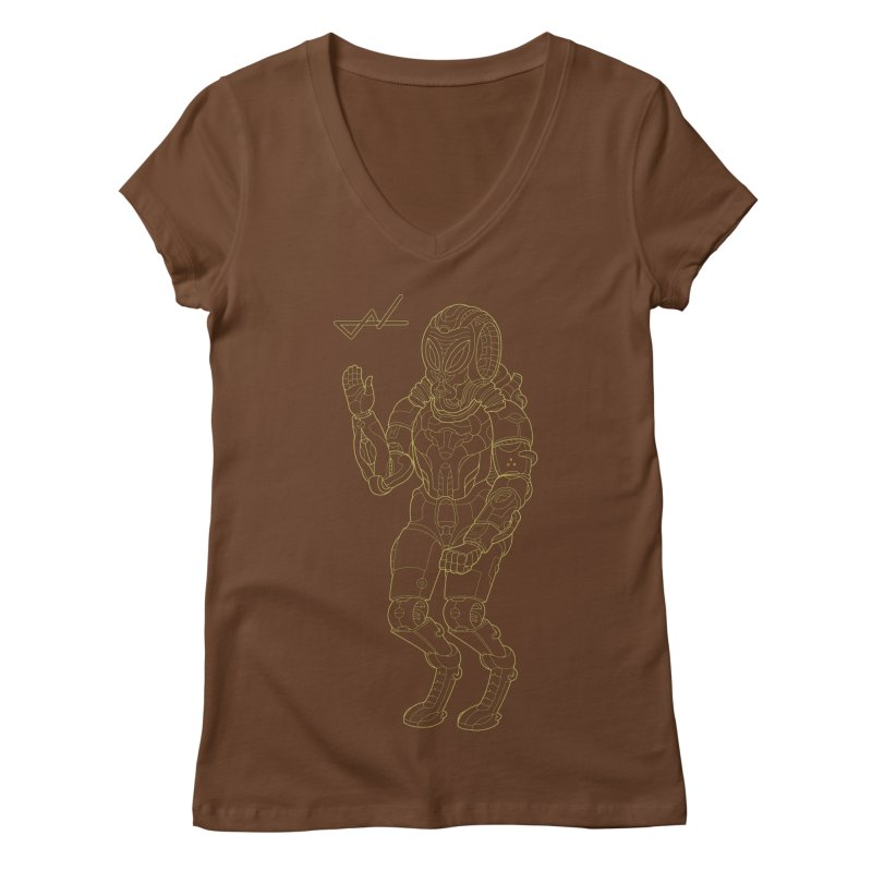Alien Astronaut Line Women's V-Neck by shinobiskater's Artist Shop