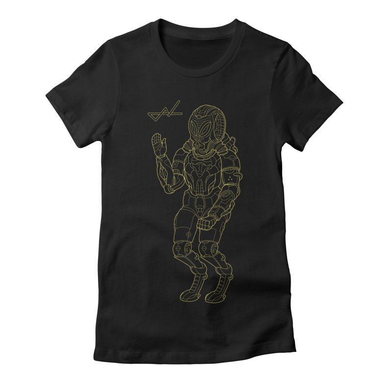 Alien Astronaut Line Women's Fitted T-Shirt by shinobiskater's Artist Shop