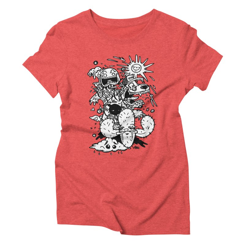 Summer Daze in Women's Triblend T-Shirt Chili Red by Shiroi Usagi Artist Shop