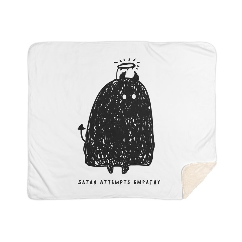 Satan Attempts Empathy Home Sherpa Blanket Blanket by Shirt Folk