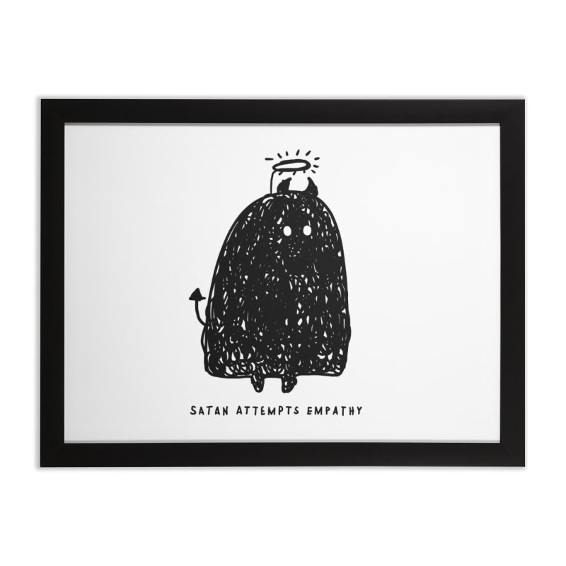 Satan Attempts Empathy Home Framed Fine Art Print by Shirt Folk
