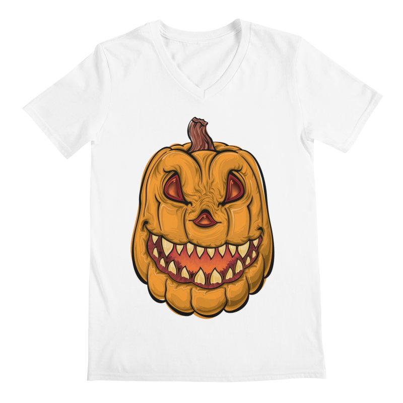 Halloween Pumpkin  Men's V-Neck by Shirt For Brains