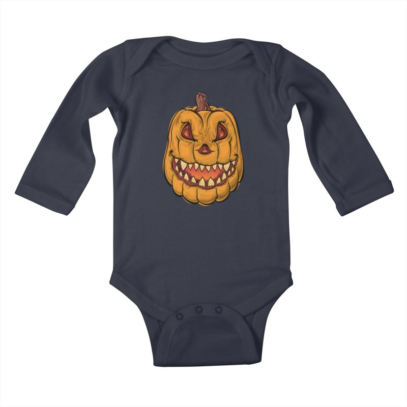 Halloween Pumpkin  Kids Baby Longsleeve Bodysuit by Shirt For Brains