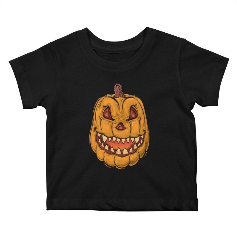 Halloween Pumpkin  Kids Baby T-Shirt by Shirt For Brains