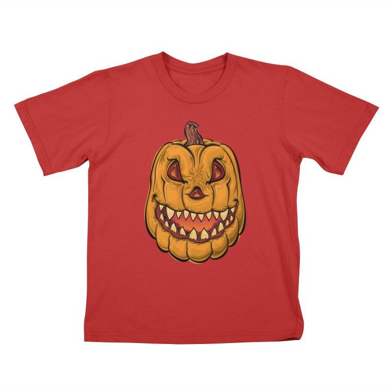 Halloween Pumpkin  Kids T-Shirt by Shirt For Brains