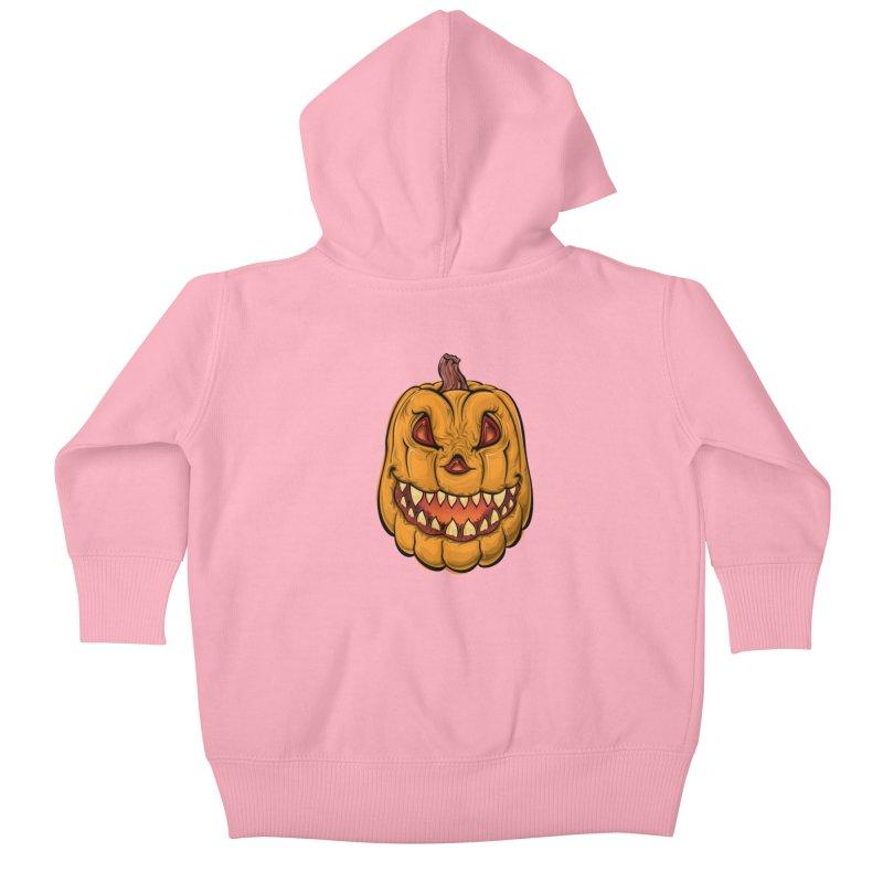Halloween Pumpkin  Kids Baby Zip-Up Hoody by Shirt For Brains