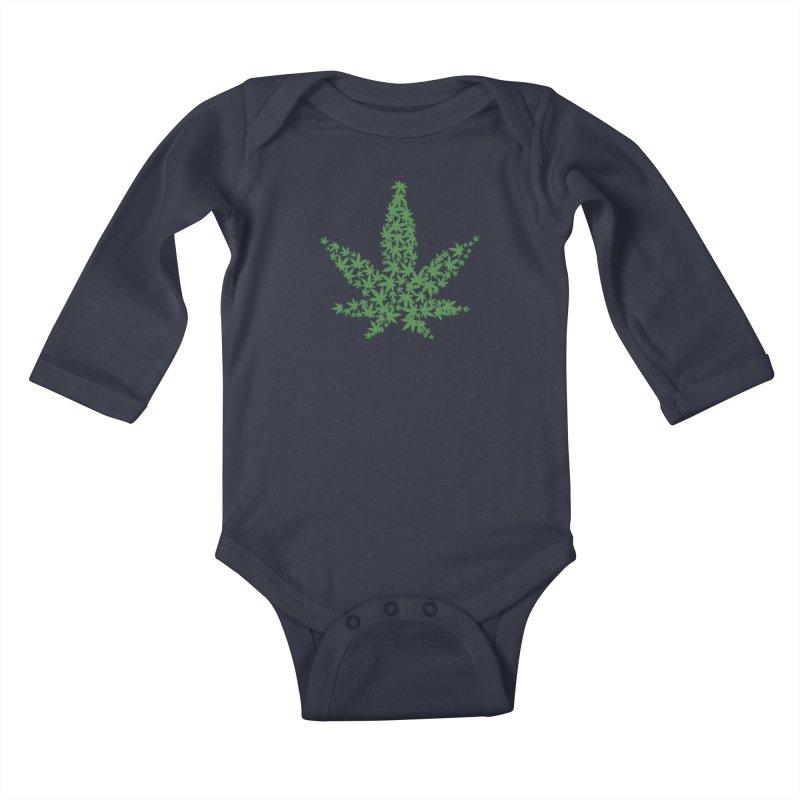 Pot Leaf Kids Baby Longsleeve Bodysuit by Shirt For Brains