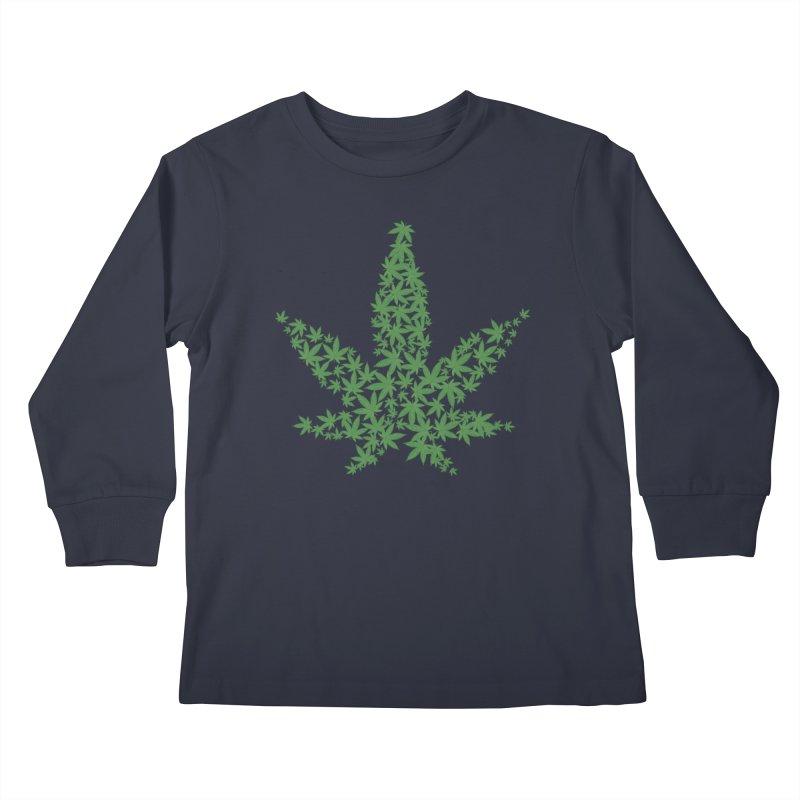 Pot Leaf Kids Longsleeve T-Shirt by Shirt For Brains