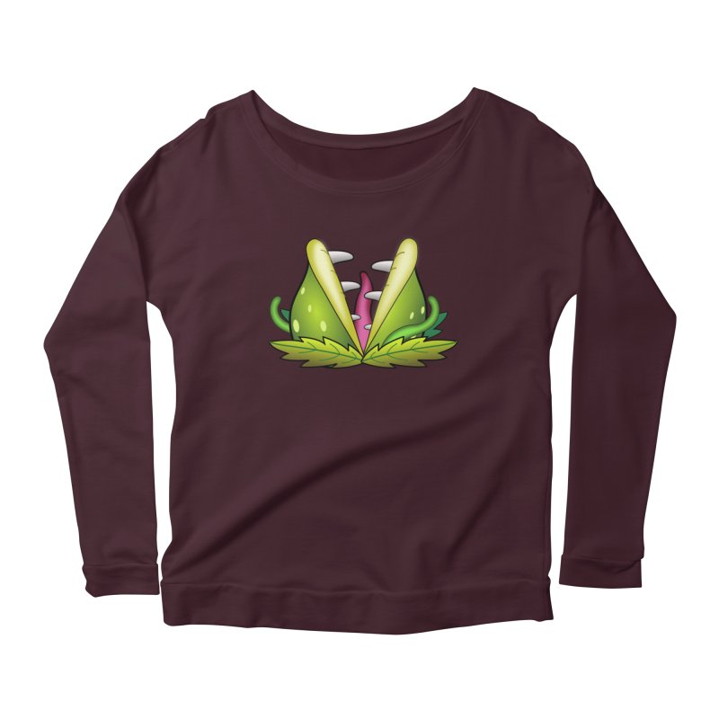 Mario Piranha Plant Women's Scoop Neck Longsleeve T-Shirt by Shirt For Brains