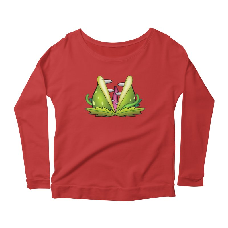 Mario Piranha Plant Women's Scoop Neck Longsleeve T-Shirt by Shirt For Brains