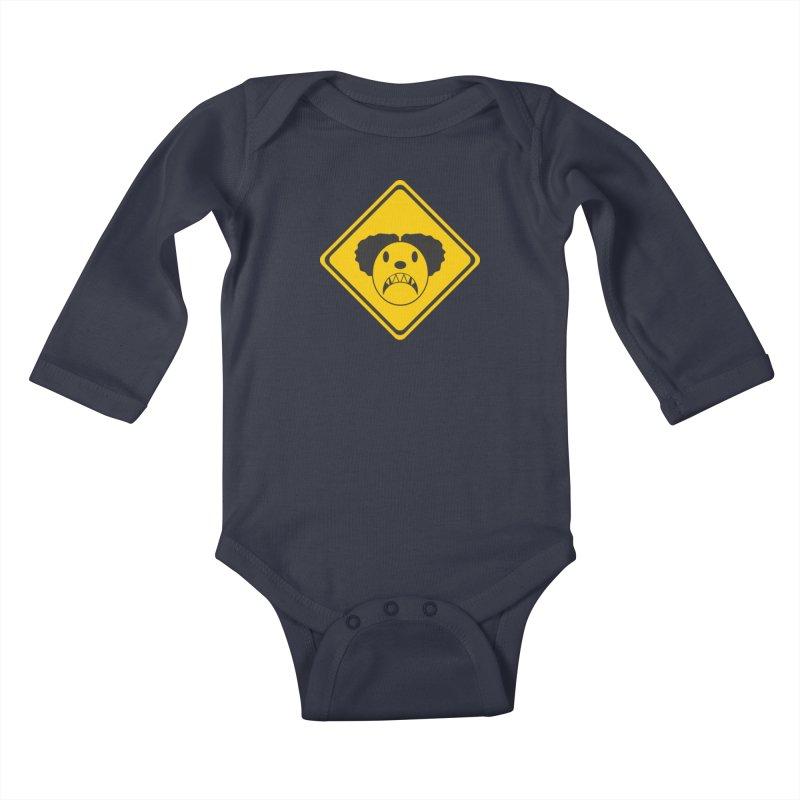Scary Clown Crossing Kids Baby Longsleeve Bodysuit by Shirt For Brains
