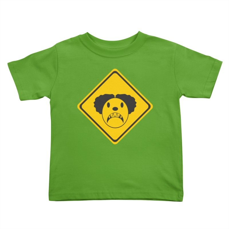 Scary Clown Crossing Kids Toddler T-Shirt by Shirt For Brains